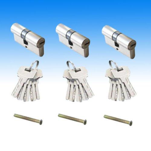 60mm ZYLINDERSCHLOSS (30/30) EINBAUSCHLOSS SCHLIESSZYLINDER SCHLOSS mit 5 SCHLÜSSEL