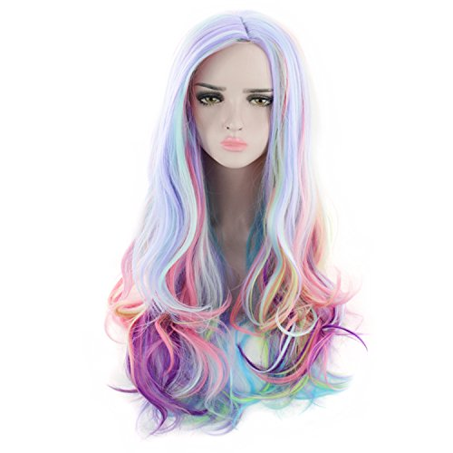 AGPTEK Full Long Curly Wavy Rainbow Hair Wig, Heat Resistant Wig Ideal for Halloween, Music Festival, Theme Parties, Wedding, Concerts, Dating, Cosplay & More