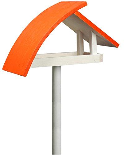 """Luxus-Vogelhaus 31012e Design Vogelhaus """"New Wave"""" aus Holz (Kiefer) für Garten, Balkon, mit Ständer, Schrägdach, Farbe: weiߟ-orange - Vogelhäuschen Vogel-Futterhaus"""
