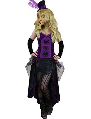 Yummy Bee - Burleske Korsett Showgirl Saloon Karneval Fasching Kostüm + Streifen Strumpfhose Damen Größe 34 - 46 ( 44-46, Violett)