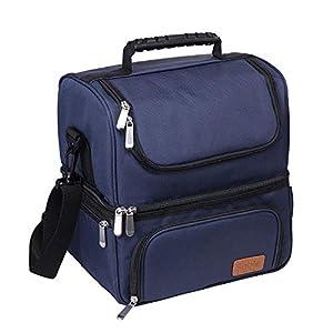 Sable Lunch-Tasche, Kühltasche Thermotasche Lunchbox mit 2/3 geräumigen Fächern, Isolierte Essenstasche Picknicktasche mit Schulterriemen, Wiederverwendbare wasserdichte Kühlbox