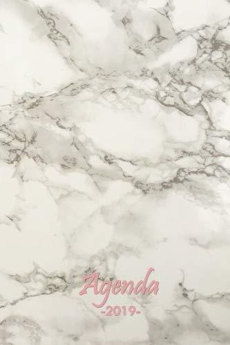 Agenda 2019: Semainier de janvier à décembre, theme Marbre, Design et ergonomique, Simple et efficace, 15.2 x 22.9 cm, 116 pages