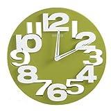 3 D 8808 Design Horloge Murale Radiocontrolée en Cuisine Faire Pilotée Vert/Blanc