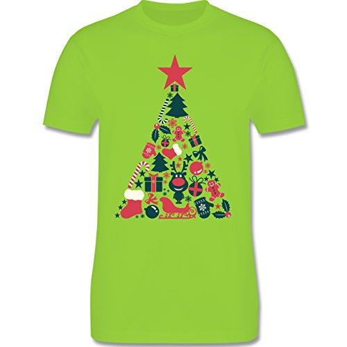 Weihnachten & Silvester - Weihnachtsbaum Collage - Herren Premium T-Shirt Hellgrün