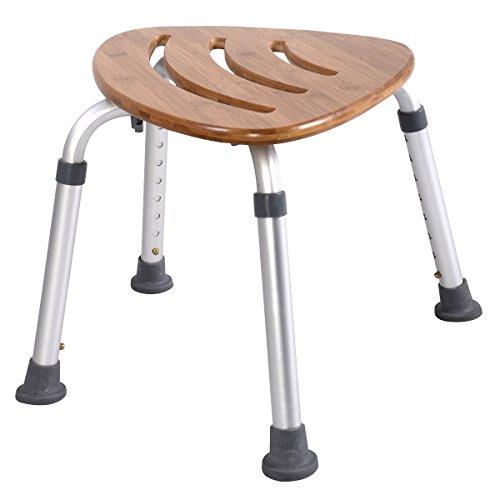 GOPLUS Duschhocker mit Bambus- Sitzplatte, Duschstuhl Höhenverstellbar, Badhocker mit Alu- Beinen, Rutschfest mit Gummi- Fußpolster, Sitzplatte in Fächer- Form und mit Löchern, Duschhilfe für Senioren