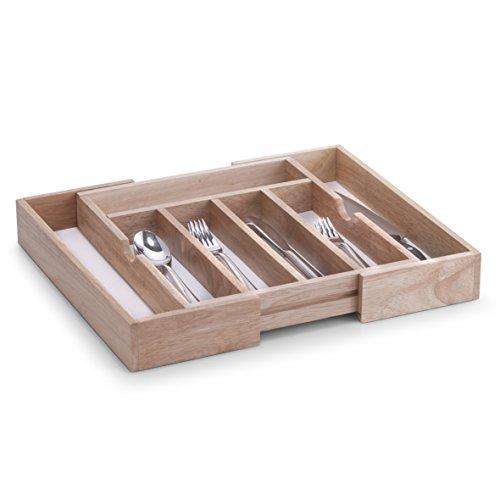 Zeller 24046 Besteckkasten, ausziehbar, Gummibaum/Melamin, ca. 31,5-50 x 38 x 6 cm