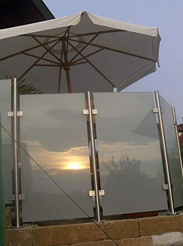 Wind-/Sichtschutz aus Edelstahl und Glas -