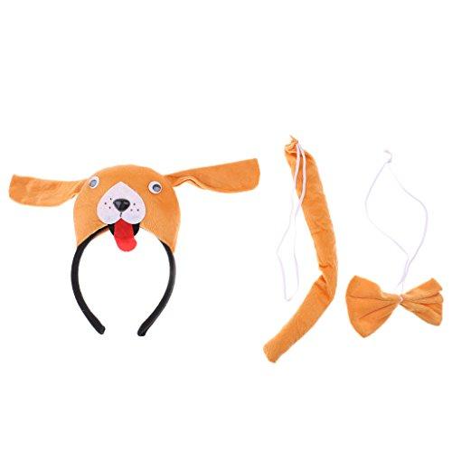 B Baosity Jungen Mädchen Tier Kostüm Set für Kinder Halloween Karneval Fasching Party - Orange Hund, 3pcs/Set (Junge Hund Halloween-kostüme)