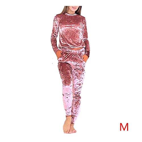 Frauen Samt Trainingsanzug Zwei Stück Set Frauen Sexy Langarm Top und Hosen Body Anzug Minzhi (Langarm Trainingsanzug)