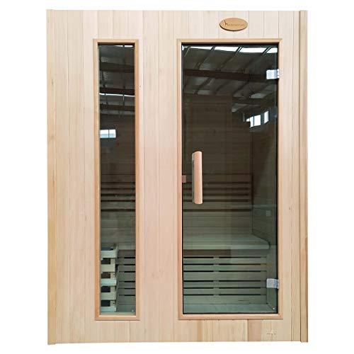 Mendler Sauna HWC-D58, Saunakabine Wärmekabine, Saunaofen 2,3kW Saunasteine Sicherheitsglas 2 Personen 190x150x105cm
