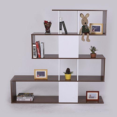 Homcom - Libreria in Pannelli di Particelle Mobili Ufficio Scaffale 145 x 30 x 145cm Bianco e Noce