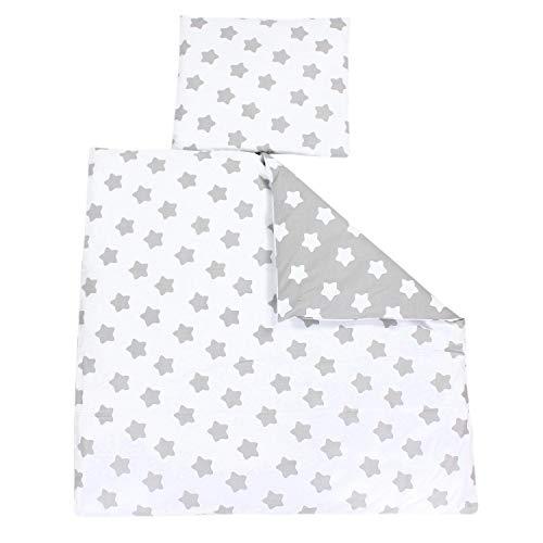 TupTam Unisex Baby Bettwäsche Wiegenset 4-teilig, Farbe: Sterne Grau/Sterne Weiß, Größe: 80x80 cm