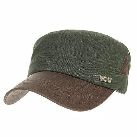 WITHMOONS Militaire Casquette de Baseball Cadet Cap Faux Leather Brim Patch Cotton Hat CR4325 (Green)