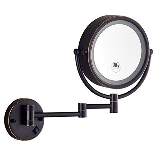 WWL LED Badezimmerspiegel Kosmetikspiegel 10X Beleuchtetes Vergrößerungs-Make-up, 360 ° Faltbarer Drehbarer Wandspiegel Mit Saugnapf, Schnurlos (Color : Black, Size : 3k)