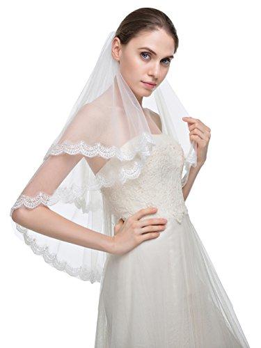 Edith qi Velo 2 Capa Codo brillantes apliques afiladas cordón Velos de novia con peine