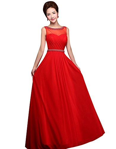 Beauty-Emily Rückenfrei See-Through Sweet Heart O-Ansatz Ohne Arm Abendkleid Rot