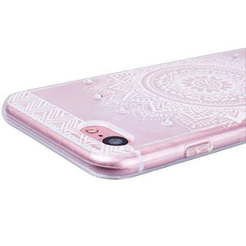 "WE LOVE CASE iPhone 7 4,7"" Hülle Weich Silikon iPhone 7 4,7"" Schutzhülle Handyhülle Im Durchsichtig Transparent Crystal Clear Diamant Glitzer Funkeln Mandala Muster Handytasche Cover Case Etui Soft TP Mandala"
