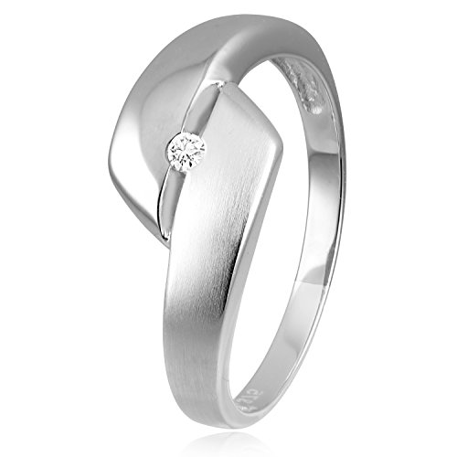 Diamond Line Diamant-Ring Damen 375 Weißgold mit 1 Diamanten 0.03ct. Lupenrein
