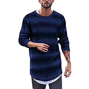 EUZeo Herren Striped Lange Rundausschnitt Pullover Slim Fit Langarm Sweatshirts Tops Pulli