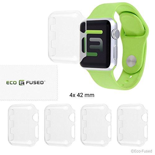 Eco-Fused Hartschalen-Bildschirmschutz Kompatibel mit Apple Watch 2 (42 mm) - 4-er Pack - Transparent - Schützt Ihre Apple Watch Series 2 gegen Stöße & Kratzer - Glasklare Schutzhülle