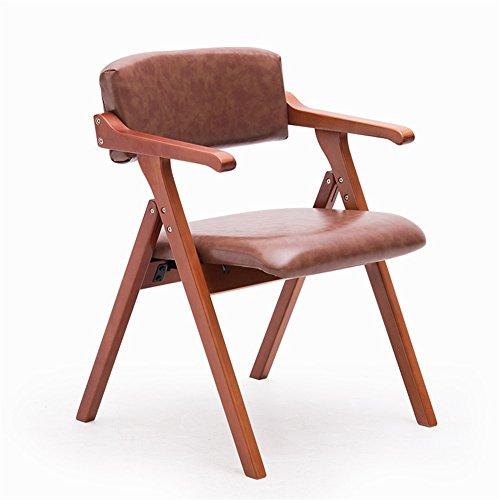 YAnFAn & Chaises Concise moderne Chaise de salle à manger en bois massif Créative avec accoudoirs Salle de réunion pliable Restaurant Fauteuil de loisirs (cuir PU marron clair) pour cuisine maison et commercial