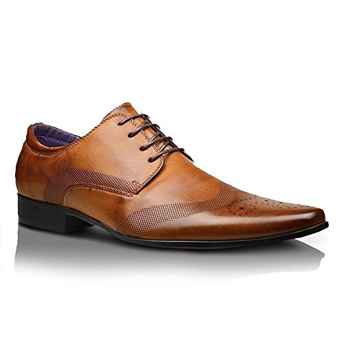 Xelay Mens Leather Lined Formal Party Office Dress Wedding Lace Up Shoes – UK Size 6 7 8 9 10 11 (11 UK / 45 EU, Brown)