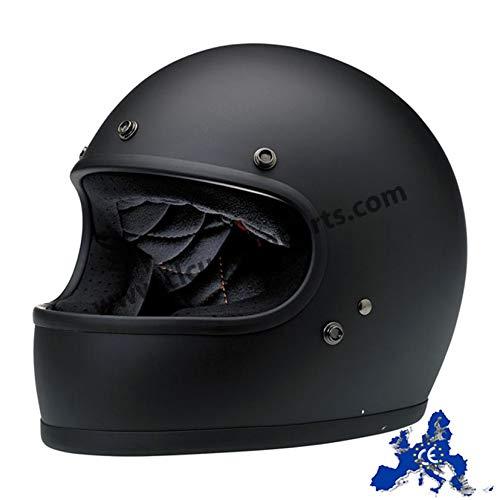 Casco Integrale Gringo Biltwell Nero Opaco Flat Black OMOLOGATO Doppia OMOLOGAZIONE ECE (Europa) & DOT (America) Helmet Biker Custom Vintage Retrò Anno 70 Taglia M