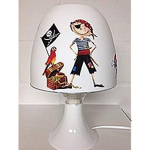 ✿ Tischlampe ✿ PIRAT Seeräuber Totenkopf Schatz Truhe Papagei Sebel personalisiert Name ✿ Tischleuchte ✿ Schlummerlicht ✿ Nachttischlampe ✿ Lampe ✿