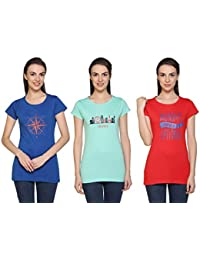 Cupid Women Tee Shirt/Round Neck Casual Ladies T Shirts and Tops/Night / Yoga/Gym Wear T-Shirt/Ladies Top 3 Pc Combo Offer Pack (Sea Green, Red, Royal Blue)