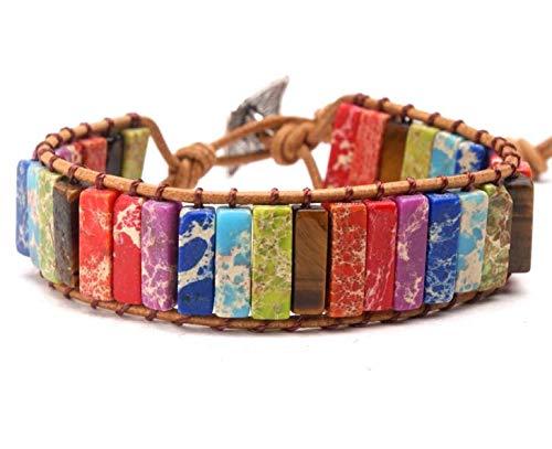 Jiaxingo Lederarmband Chakra Armband Multi Color Naturstein Rohr Perlen Armband handgemachten Schmuck für Paare kreative Geschenke