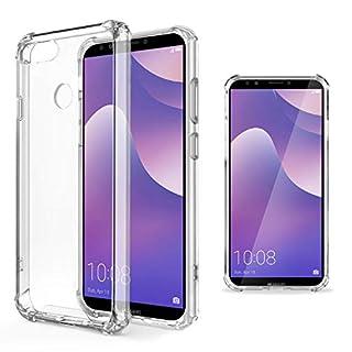 Moozy Transparent Silikon Hülle für Huawei Y7 Prime 2018 / Huawei Y7 2018 - Stoßfest Klar TPU Case Handyhülle Schutzhülle
