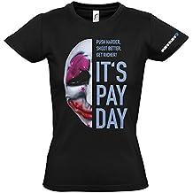 Payday 2 GE1738L - Payday 2 de la Mujer Houston Máscara Grande Camiseta, Negro (GE1738L)