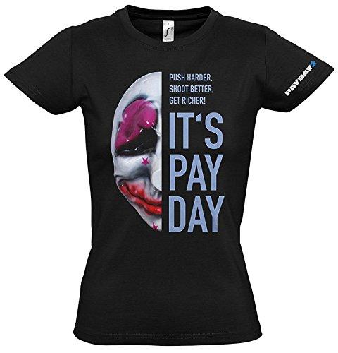 PAYDAY 2 GE1738XL Houston de la Mujer Máscara Extra Grande Camiseta, Negro (GE1738XL)