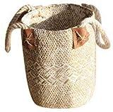Panier de paille Gezichta tressé en jonc de mer naturel avec poignées pour ranger le linge, le pique-nique, housse de pot de fleurs, vase, corbeille à papier, et sac de plage, blanc, 19*21*25cm