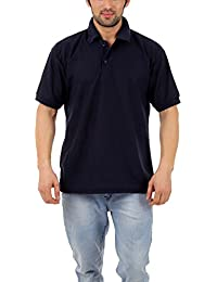 Vestiario Men's Regular Fit Cotton Blend Polo Half Sleeve Casual T-Shirt (Navy Blue)