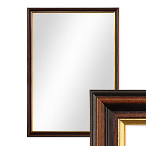 PHOTOLINI Wand-Spiegel 56x76 cm im Holzrahmen Antik Dunkelbraun mit Goldkante/Spiegelfläche 50x70 cm