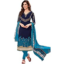 AASRI Women Blue Synthetic Crepe Printed Salwar Suits for Women Unstitched Dress Material