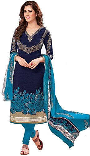 AASRI Women Blue Synthetic Crepe Printed Salwar Suits for Women Unstitched Dress...