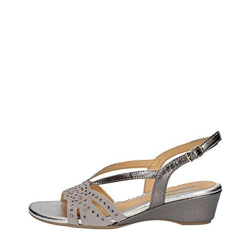 dc1965fadcba0 08755 Nero Chaussure Femme Sandale Compensée En Cuir Melluso Fabriquée En  Italie Argent