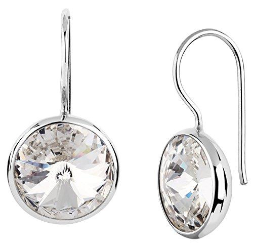 Nenalina Silber Damen-Ohrringe Ohrhänger mit Swarovski Kristall Rivoli 12mm Weiß, 925 Sterling Silber, Ohrringe für Frauen, Swarovski-Ohrringe 842004-001