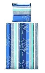 2 tlg Castell Biber Bettwäsche Garnitur Set Größen 135 x 200 cm und 155 x 220 cm Kopfkissen 80 x 80 cm, Farbe Blau, mit Reißverschluss Größe 135 x 200 cm