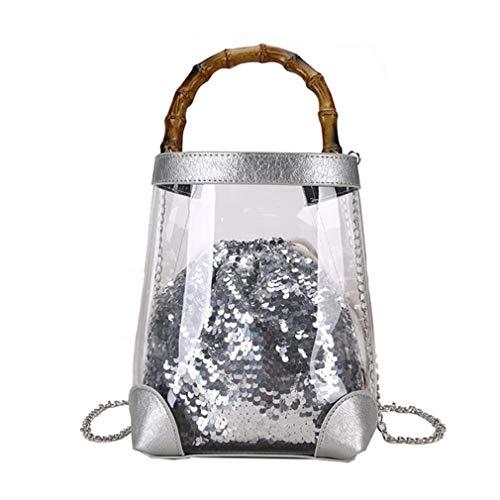 Showahandbag Damen Tasche aus PVC mit Pailletten und Glitzer, Damen, Silber