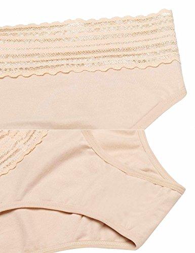 EKOUAER Damen Unterwäsche 3er Pack Baumwolle Slips mit Spitzen Hiipster Unterhose Gepunkt Retro Schwarz/Weiß XXL 6288_Schwarz+Weiß+Aprikose/3pack