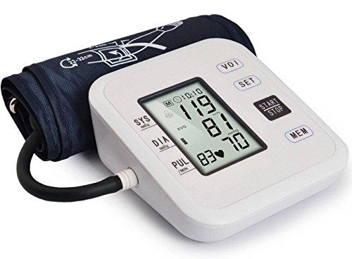 AIMS@ Blutdruckmessgerät Professionelle Balance Obere Armmanschette Monitor Herzfrequenzmessgerät mit Stimme Großes LCD Einknopfbedienung 2x99 Gruppendatenspeicher für Heimreise Verwendung Weiß (Blutdruck Armmanschette Automatische)