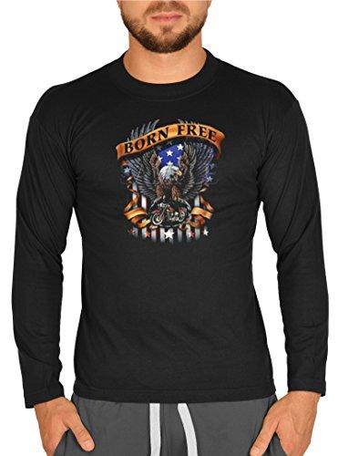 Biker-Style Langarm-Shirt Herren Longsleeve lässiger Adler Aufdruck: Born Free Eagle Schwarz