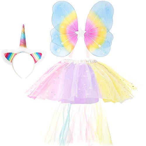GirlZone Geschenke für Mädchen - Einhorn Kostüm-Set Verkleidung für kleine Mädchen mit Haarreif, Einhorn-Schwanz, Regenbogen Rock und Flügeln | Verstellbares Kinder-Outfit 3-6 Jahre (Kostüm Für Kleine Mädchen)