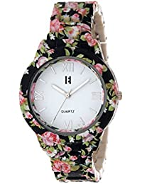 Excelencia CW-21-Black & Pink Floral Print Analog white dial Women's Watch