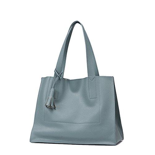 Mena UK Sacchetti di cuoio impermeabili di alta qualità di modo dell'annata con la borsa 3 della cartella della spalla ( Colore : Albicocca , dimensioni : 30cm*39cm*17cm ) Linen blue