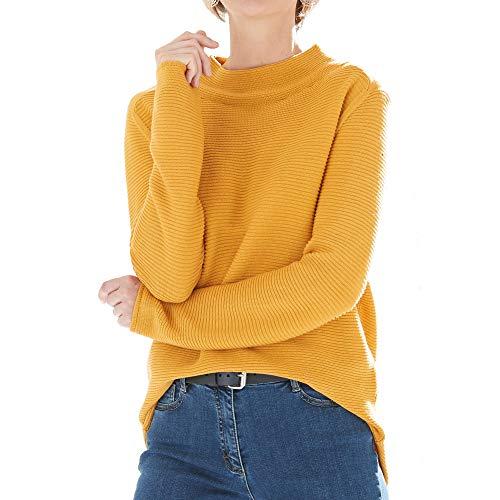 MONARI 803265 225 Damen Pullover Stehkragen Oversized-Form Baumwolle Polyacryl, Groesse 44, gelb