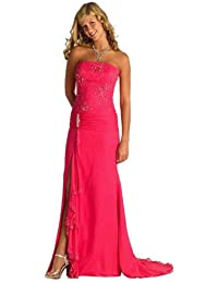 Astrapahl, Langes Luxus Abendkleid, mit Perlenstickrei, sehr festlich, Farbe pink, Gr.46